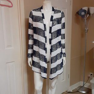 Retro Threads Navy & White Loose Knit Sweater